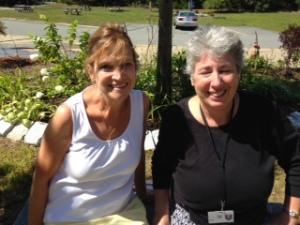 Ann and fellow Math teacher Marian Ferrick in the front garden at Oak Ridge