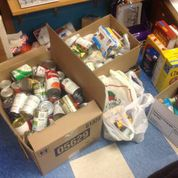 Non-perishable items of all sorts were collected.