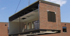 This is from the website of the Modular Classroom company and shows how they can be installed.