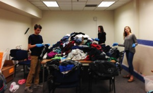 Students sorted all the clothing donated.