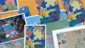 from the video - multiple images of the day, including some of the puzzles that were created.
