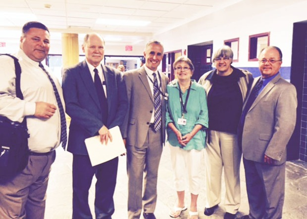 Mrs. Russell with her most admiring colleagues - the administrators she has worked with over the years. Chris Dintino, Gil Newton, Marc J. Smith, Mrs. Russell, Deb Landry and Matt Bridges. Mrs. Russell also worked with Sheila Lima and Joanna Hughes