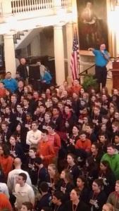 Full House of great kids at Fanueil Hall. Molly is in that crowd somewhere!