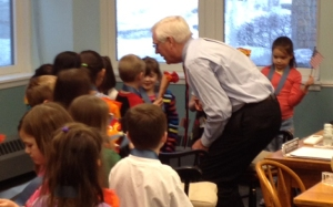 One of Dr. Canfield's favorite times - with Kindergarten students!