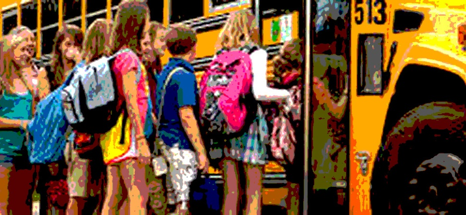 kids getting on a bus