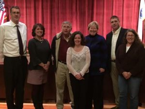 The School Committee and our new Superintendent. From left: Jim Dever, Stephanie Hall, Jim Pierce, Kerri Ames, Dr. Gould, Jay McGrail and   Beth Cummings. Shaun Rausch missed the photo op!